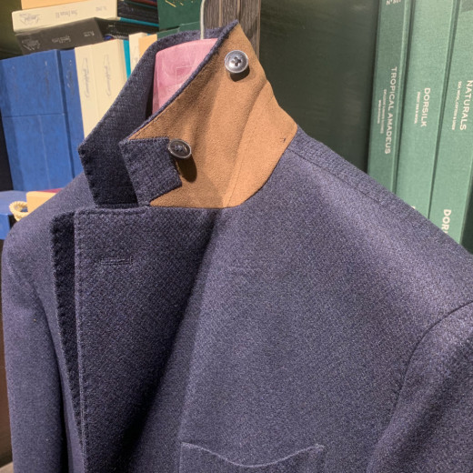 Blue and brown suede jacket | Vitale Barberis Canonico