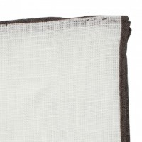Color border linen pocket square - Brown