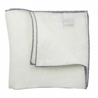Color border linen pocket square - Grey