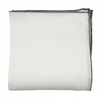 Color border linen pocket square - Green
