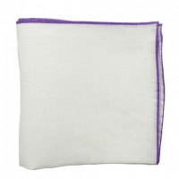 Color border linen pocket square - Purple