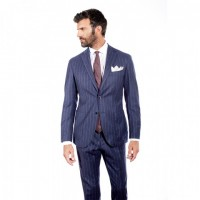 BLUE PINSTRIPED TWO-PIECE SUIT