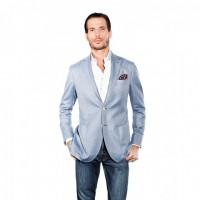 LIGHT BLUE HERRINGBONE JACKET