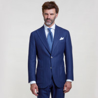 Blue Pinstripe Suit | Wool & Cashmere