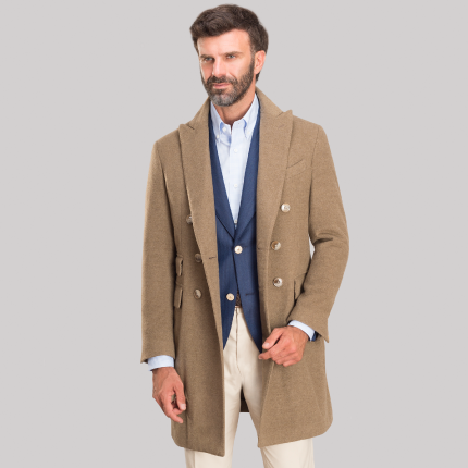 DOUBLE BREASTED BEIGE OVERCOAT