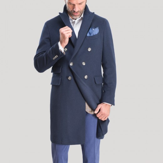 DOUBLE BREASTED BLUE OVERCOAT