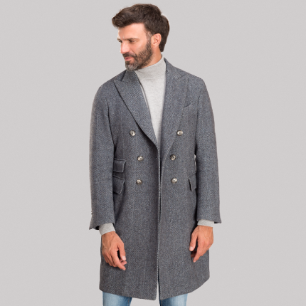 HERRINGBONE DOUBLE-BREASTED OVERCOAT