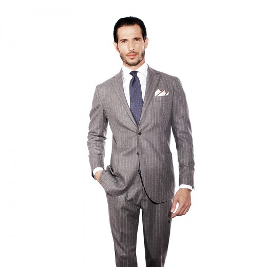 GREY PINSTRIPED TWO-PIECE SUIT